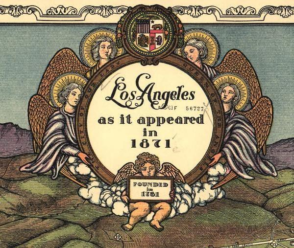 Gore's birdseye map of Los Angeles as it appeared in 1871.