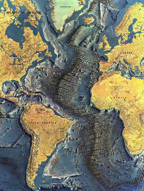 Atlantic ocean floor, National Geography 1968